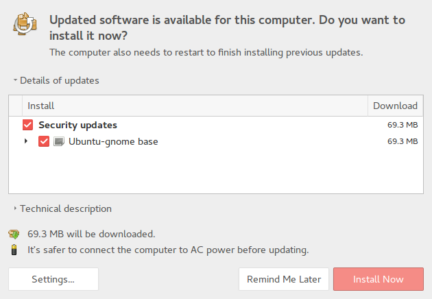 Window showing updates need to be installed