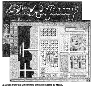"""One of the other few surviving screenshots of SimRefinery. The screenshot is black-and-white and depicts a top-down view of an oil refinery. Caption: """"A screen from the SimRefinery simulation game by Maxis."""""""